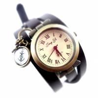 Armbanduhr, Wickeluhr, Lederuhr, echt Leder, Wickeluhr, Vintage-Stil, maritim, U77 Bild 1