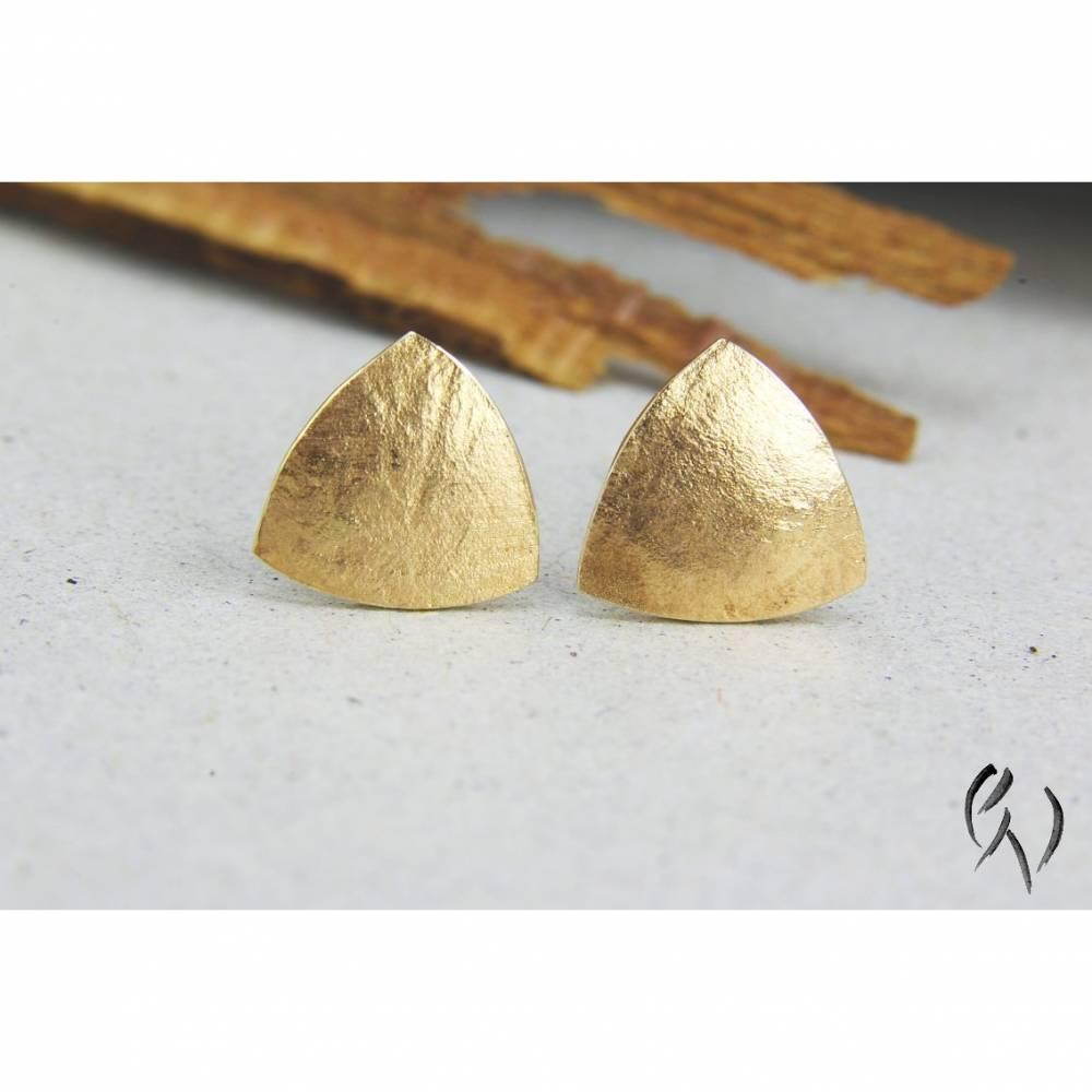 Ohrstecker Roségold 585/-, Dreieck 7,5 mm, papierstrukturiert Bild 1