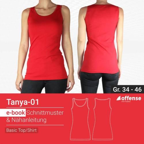 """Basic Top/Shirt """"Tanya-01"""" in Größe 34-46 - Schnittmuster + Schritt-für-Schritt Nähanleitung"""