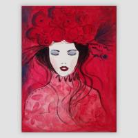 Blumenmädchen rot handgemalt  Bild 1