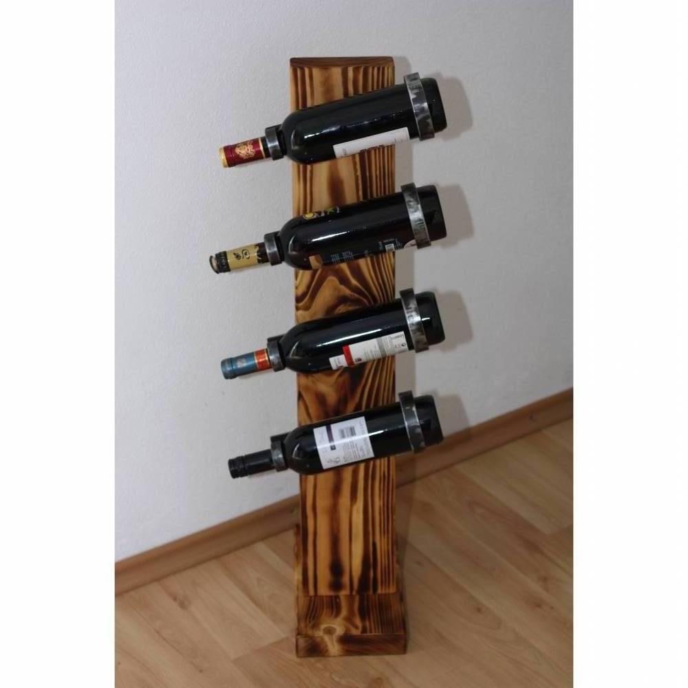 Weinständer aus Holz Metall angeflammt Unikat Bild 1