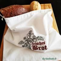 Brotbeutel wie bei Oma, Stoffbeutel aus Baumwolle für Brot und Brötchen, 34 x 38  cm, Unikat Bild 1