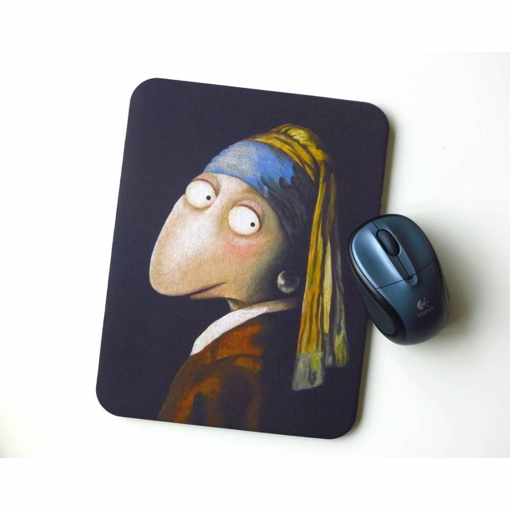 """Kunztpad - Mousepad """"Die Fröschin mit dem Perlenohrring """", Mauspad, Frosch, Büro Geschenk, Arbeitsplatz, Schreibtisch, Computer, Frosch Bild 1"""