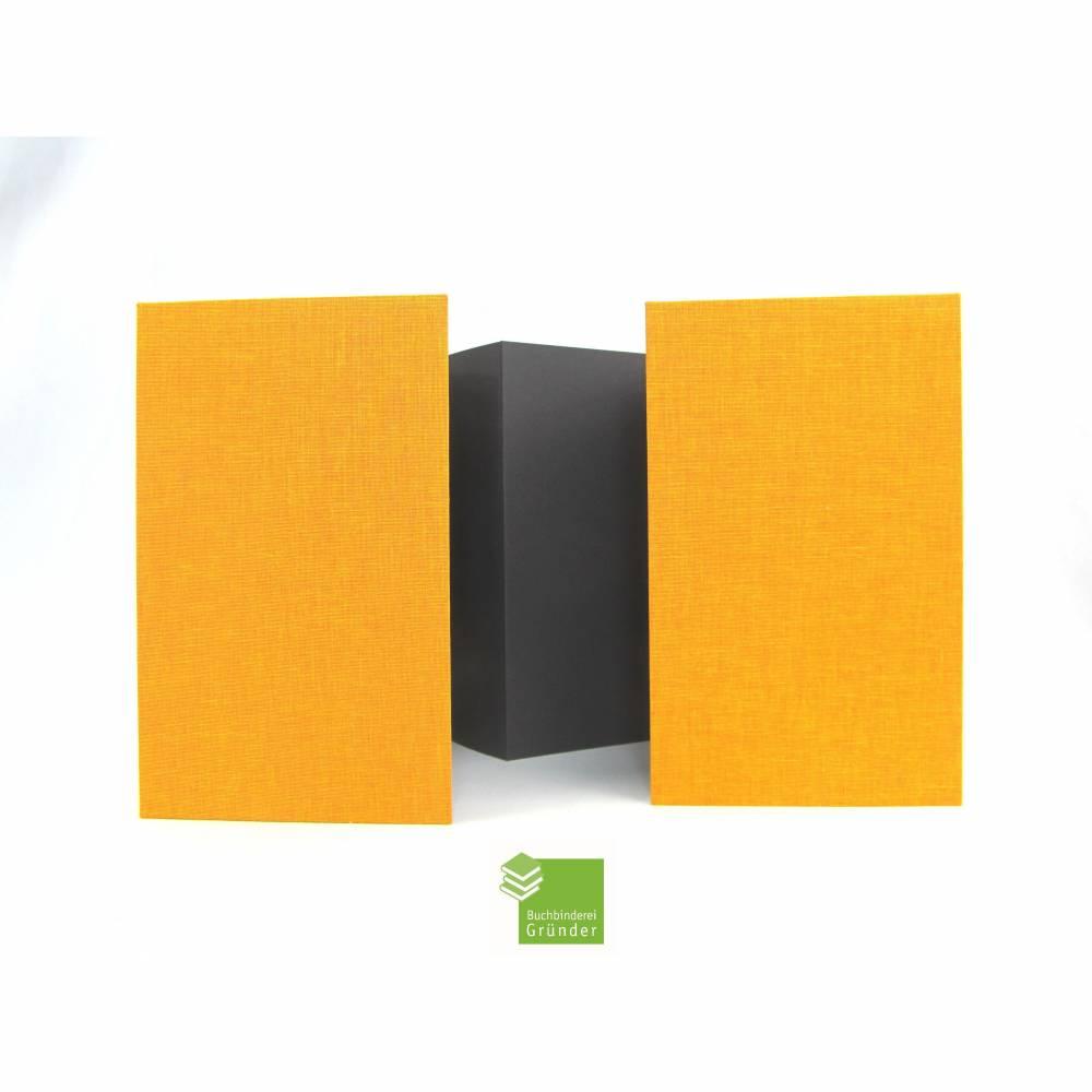 Leporello, groß, 24 x 14 cm, 12 Flächen, orange rot schwarz, Faltbuch Bild 1