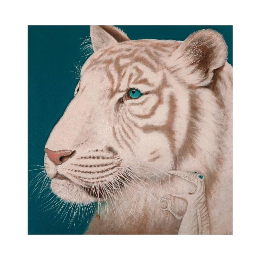 Roy, der weiße Tigerfrosch, Leinwanddruck auf Bestellung, Tiger Bild, Frosch Bild, Froschkönig, witziges Bild, Wohnzimmer Bild, Geschenk Bild 1