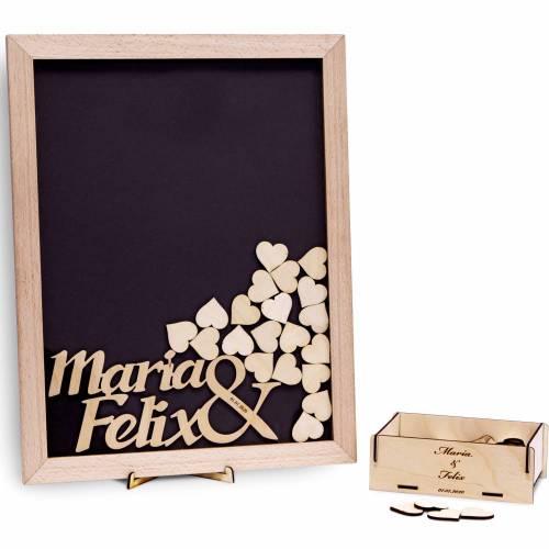 Gästebuch Hochzeit Rahmen mit Namen & Datum, Herzen 100 Holzherzen graviert personalisiert 35x45 cm Gravur Holz-Rahmen individuell