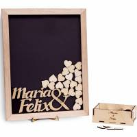 Gästebuch Hochzeit Rahmen mit Namen & Datum, Herzen 100 Holzherzen graviert personalisiert 35x45 cm Gravur Holz-Rahmen individuell Bild 1