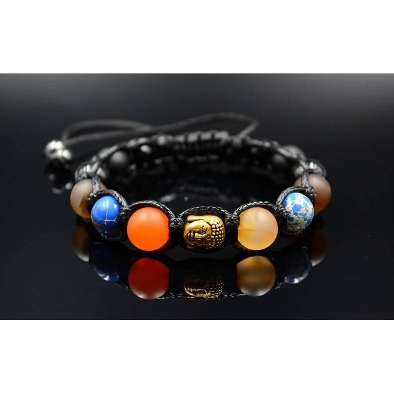 Herren Buddha Armband aus Edelsteinen Onyx Achat und Jaspis mit Knotenverschluss, Makramee Armband, 10 mm Bild 1