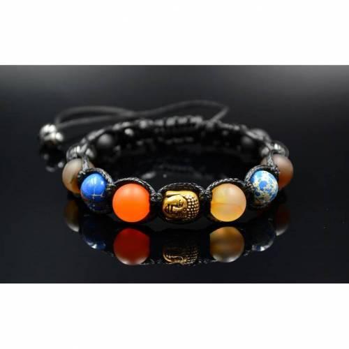 Herren Buddha Armband aus Edelsteinen Onyx Achat und Jaspis mit Knotenverschluss, Makramee Armband, 10 mm