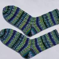 Handgestrickte, farbenfrohe Wollsocken / Herrnsocken / Männersocken Gr. 44/45, auch ideal als Arbeitssocken. Bild 1
