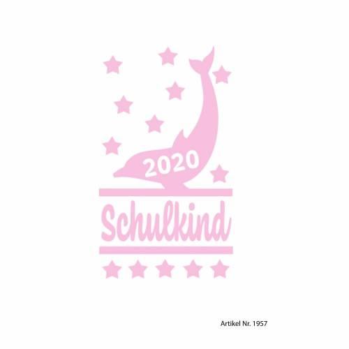 Bügelbild Schulkind Delphin 2020 in Wunschfarbe