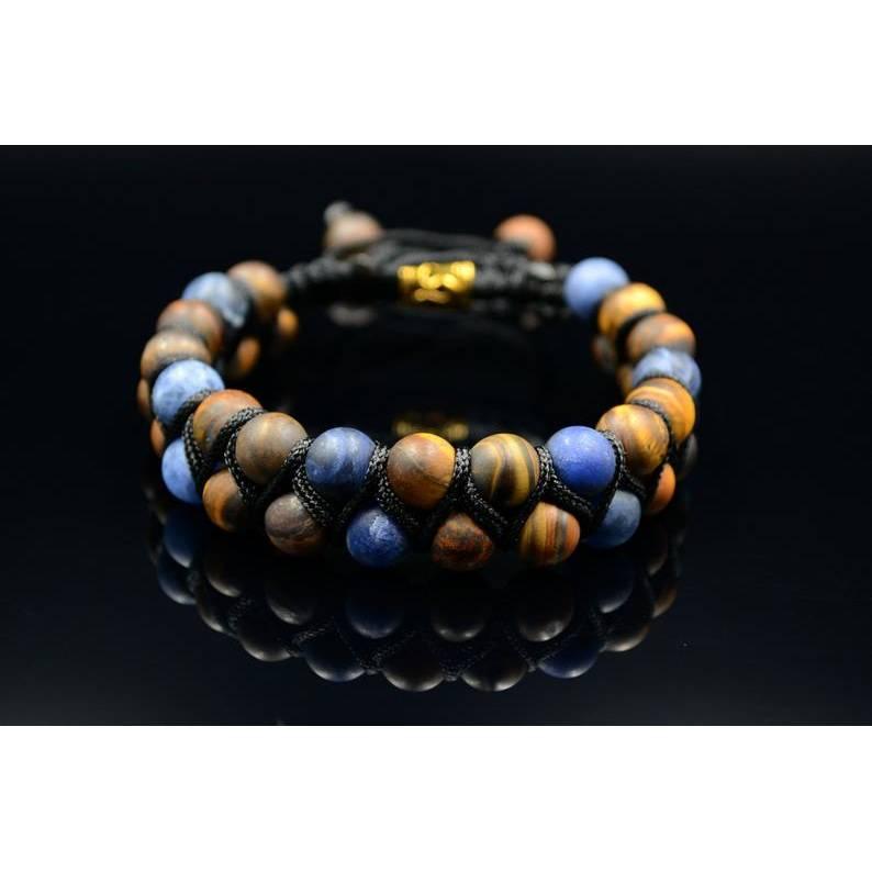 Herren Doppel-Armband aus Edelsteinen Tigerauge und Sodalith mit Knotenverschluss, Makramee Armband, 8 mm Bild 1