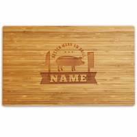 Schneidebrett personalisiert Gravur Bambus o. Buche SCHWEINCHEN Holzschneidebrett individuell graviert Namen Küchenbrett Grillbrett Geschenk Bild 1