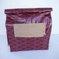 Lunchbag Vespertüte aus Wachstuch in dunkelrot  mit ORNAMENT Bild 1