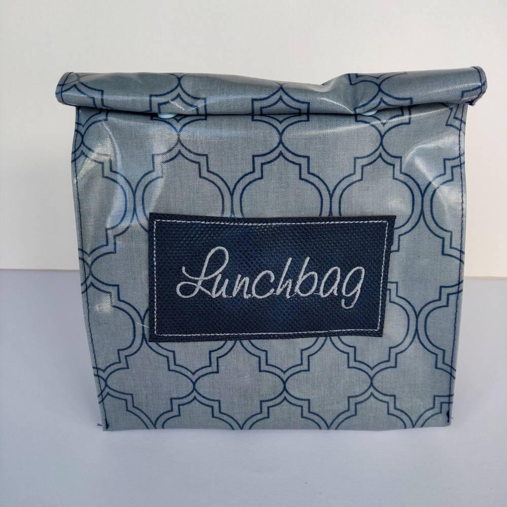 Lunchbag Vespertüte aus Wachstuch in grau mit Ornament Bild 1