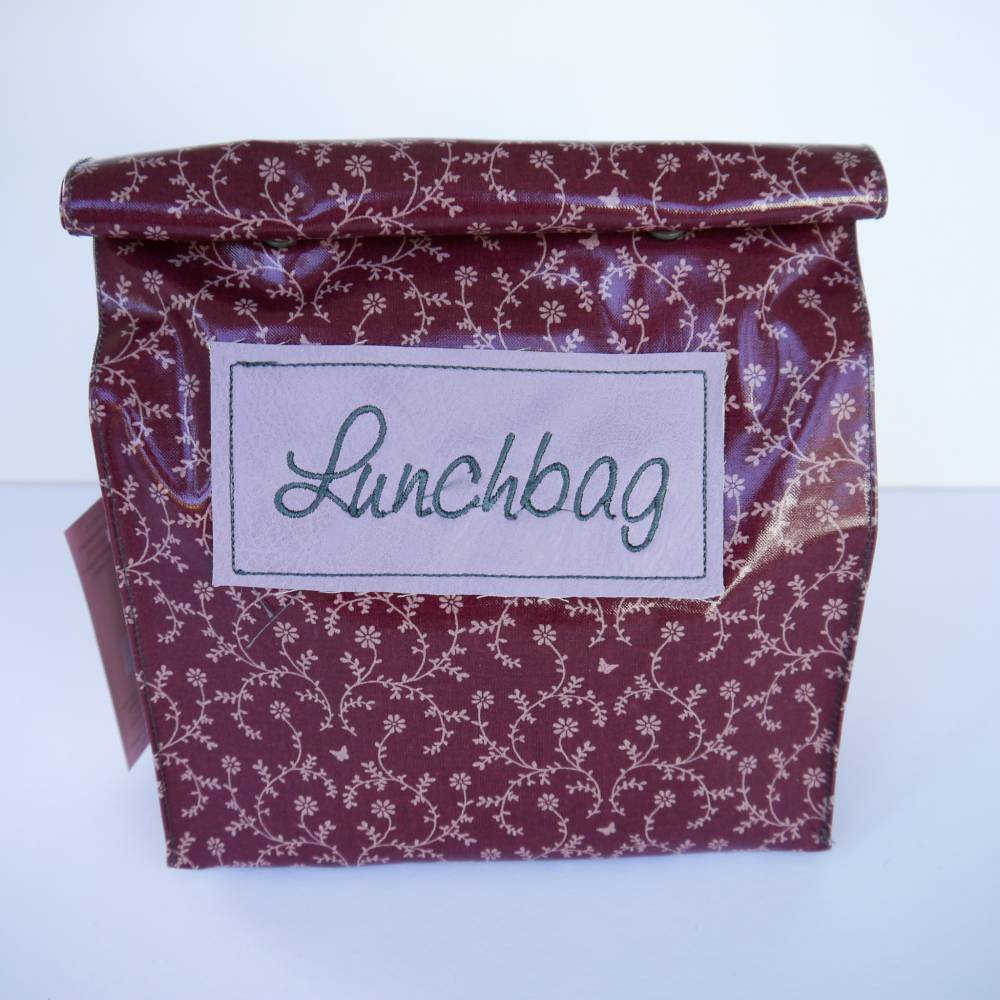 Lunchbag Vespertüte aus Wachstuch in dunkelrot  mit BLÜMCHEN Bild 1