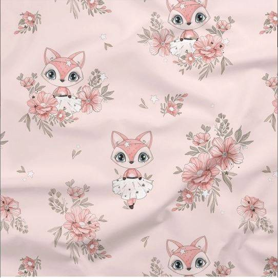 Baumwollstoff Fuchs Füchse Blumen Rosa Kinderstoff Premium Baumwolle Meterware - Für Vorhänge - Kissen - nähen - Quilt - Stoff Patchworkstoff  Bild 1
