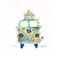 Hippie-Bus Nr. 1 - Love, original Aquarell-Bild Bild 1