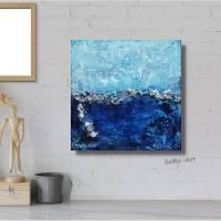 Kleines Kunstwerk, Acryl auf MDF Block, Meerblick in tollen Blautönen mit Blattsilber und Effektperlen, Wandkunst  Bild 1