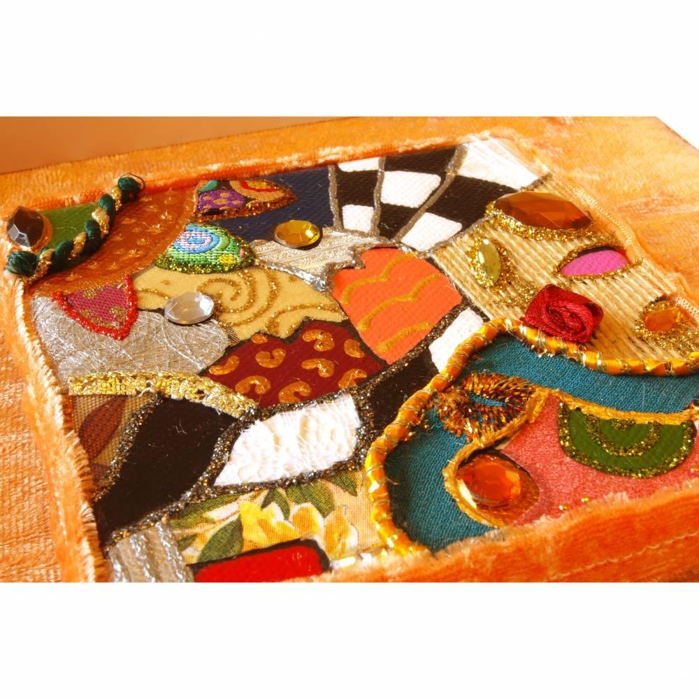 opulente collage kunst personalisierbar glitzer bild silber gold boho kunst geschenk mixed media Bild 1