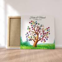 Gästebuch Hochzeit Fingerabdruck Leinwand Personalisiert Tree & Birds Brautpaar Geschenk Hochzeitsdekoration Namen 50x50 cm Keilrahmen Bild 1