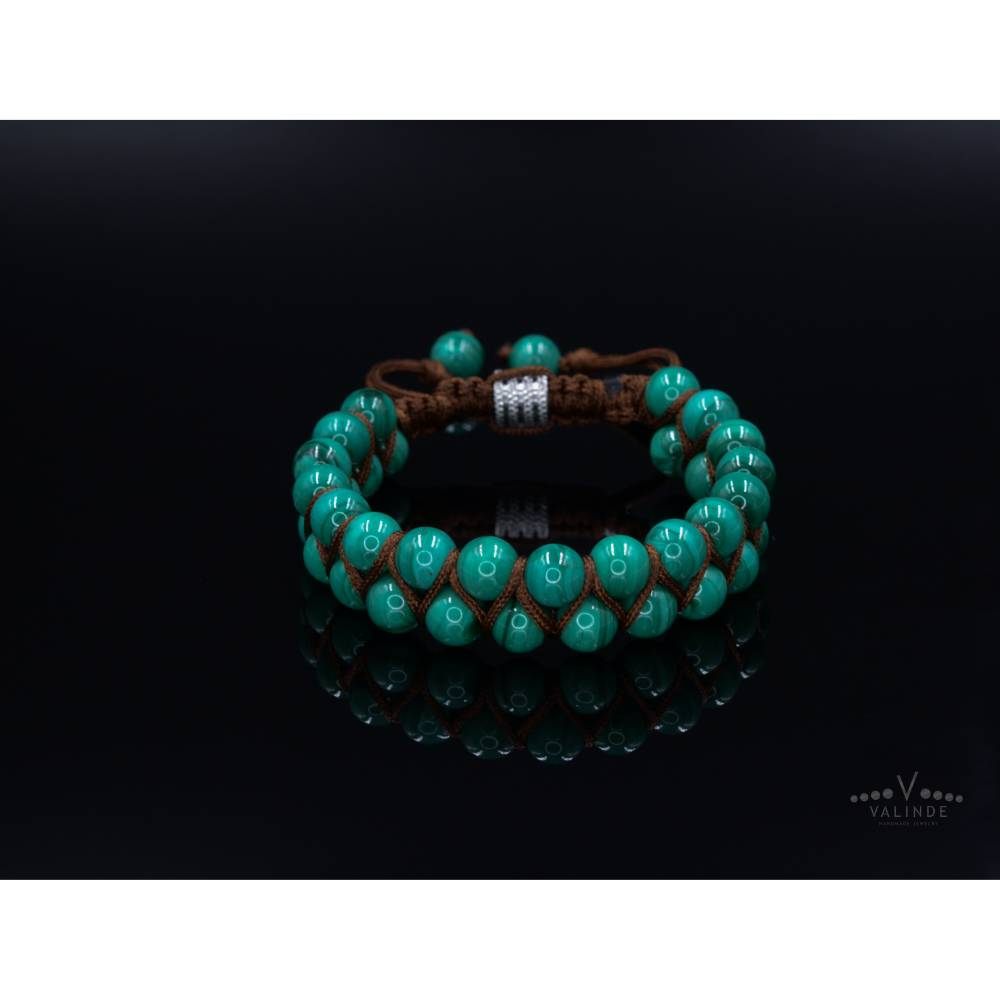 Herren Armband aus Edelsteinen Malachit LIMITED EDITION, Makramee Armband, 8 mm Bild 1