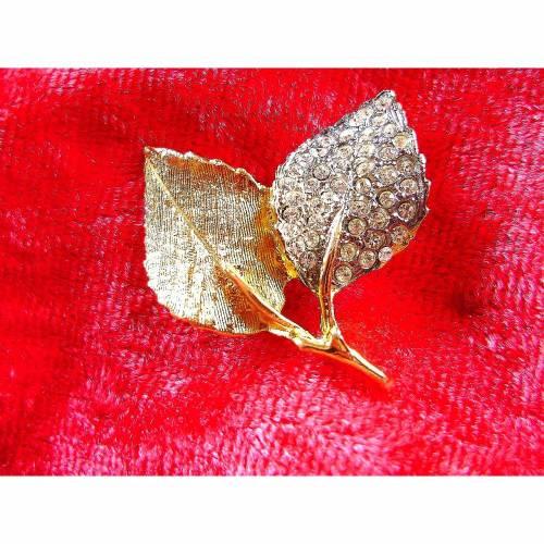 Vintage♥Brosche 2 Blätter♥in gold und silber♥aus den 70er Jahren♥