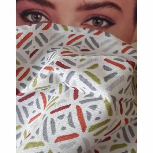Handgearbeitetes Gesichtsmaske Maske Behelfsmaske Baumwolle 60° waschbar Gummilitze bis 95°, kein Trockner