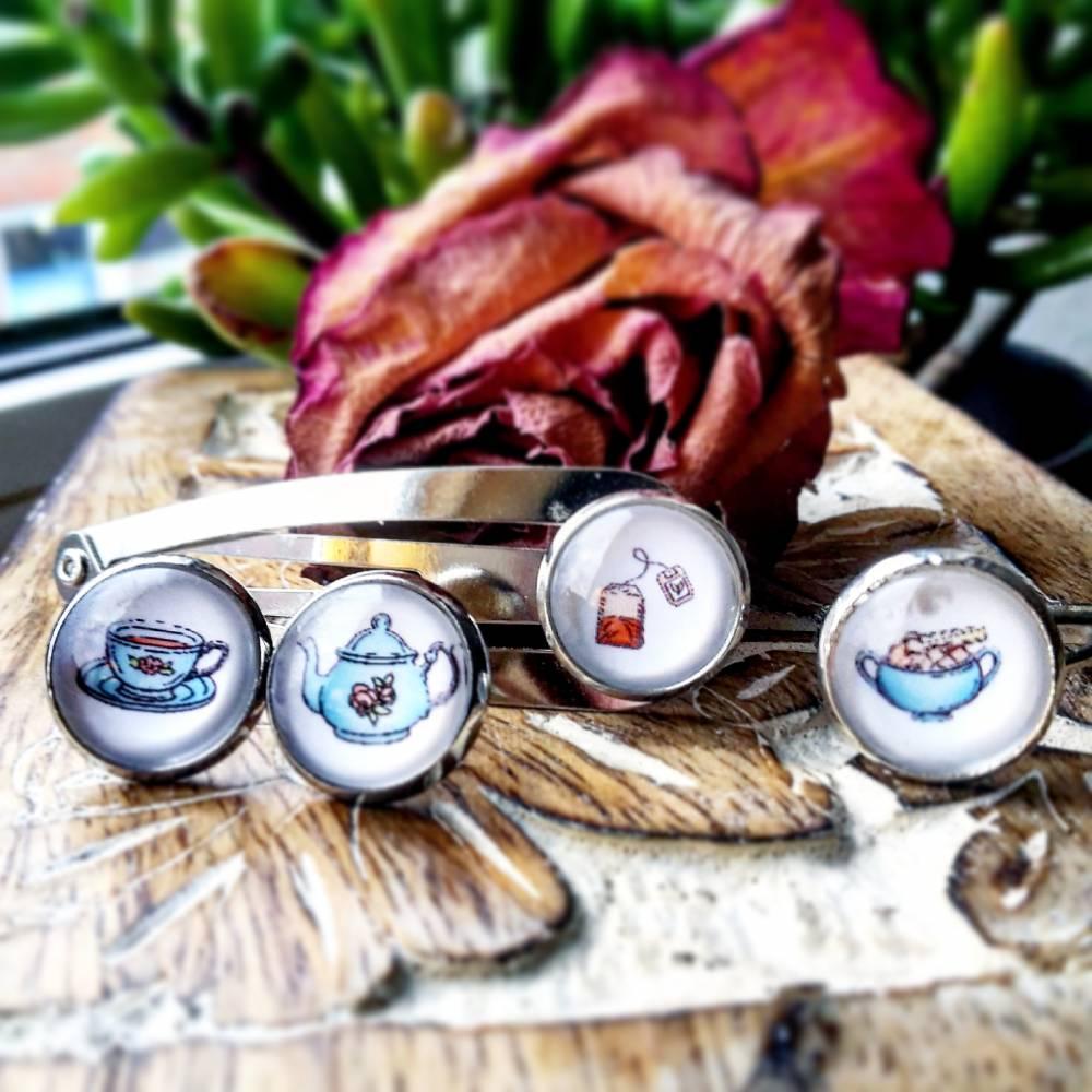 Schmuckset Teezeit Tee Cabochon Haarspange, Ohrringe und Ring Bild 1