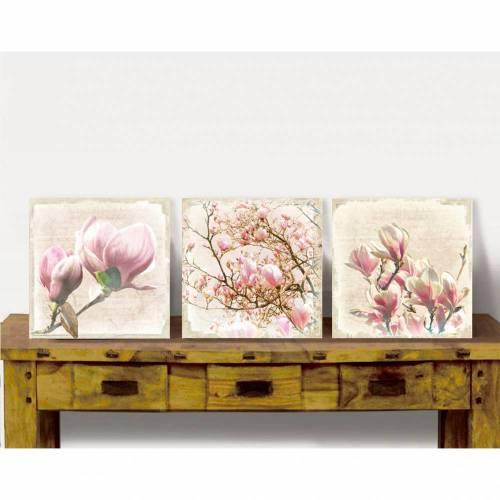 Blumenbild MAGNOLIEN Triptychon auf Holz Leinwand Print Wanddeko Landhausstil Vintage Shabby Chic handmade kaufen