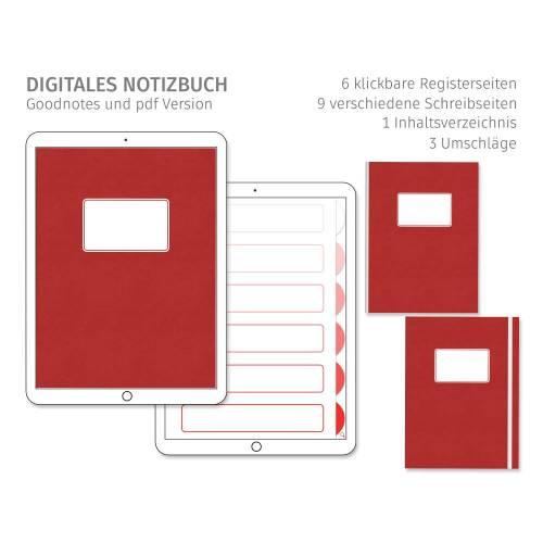 Digitales Notizbuch, einfach und minimalistisch, für Goodnotes, 6 Register