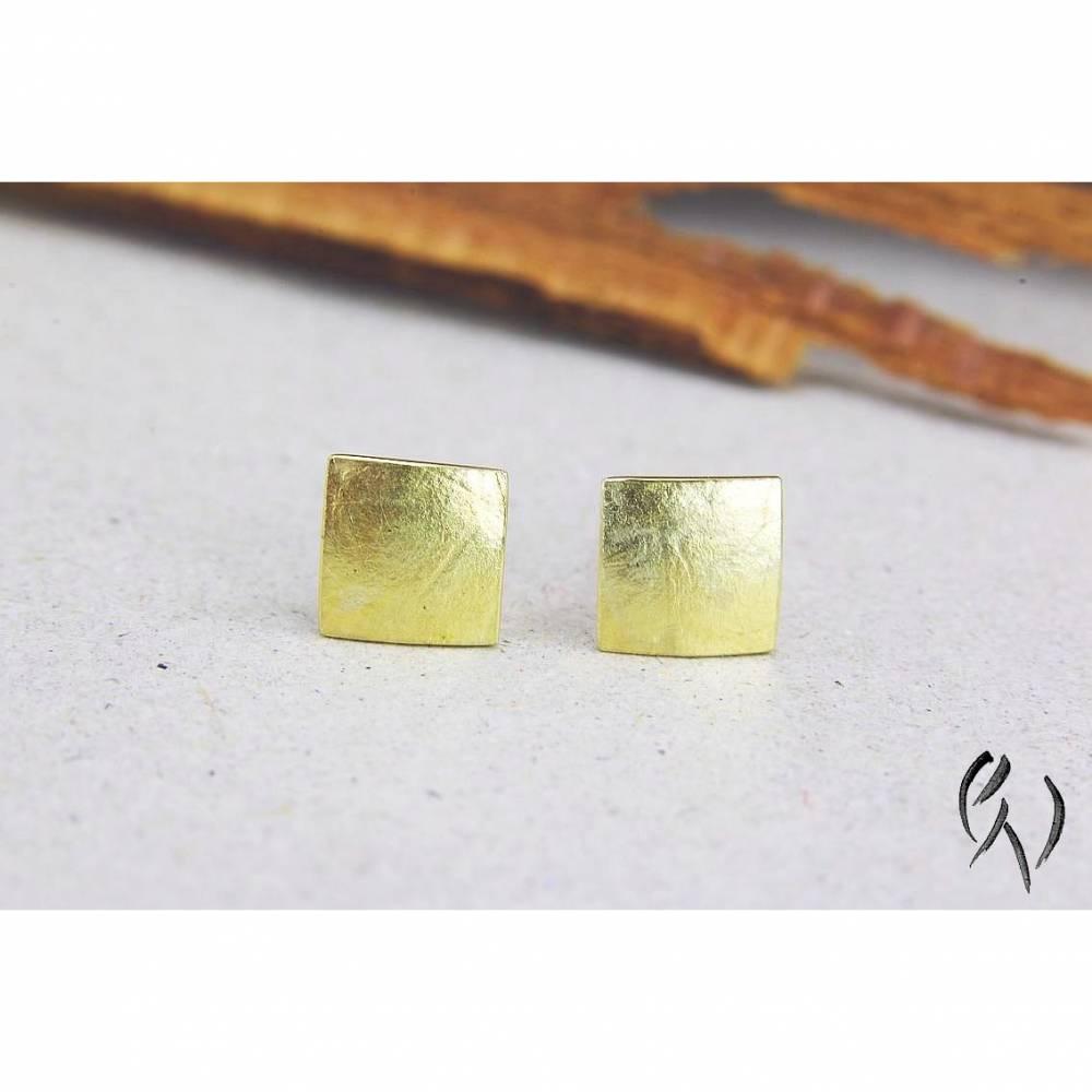 Ohrstecker Gold 585/-, Miniquadrat papierstrukturiert Bild 1