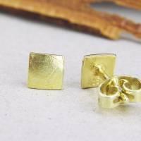 Ohrstecker Gold 585/-, Miniquadrat papierstrukturiert Bild 3