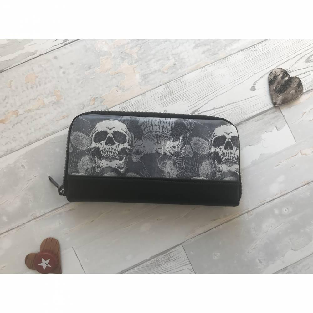 Geldbörse Geldbeutel Geldtasche - bedrucktes Kunstleder Skull Dead Race Totenkopf DeLuxe Bild 1