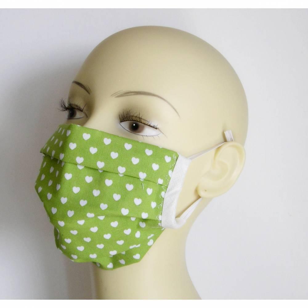 Gesichtsmaske, Behelfsmaske Herzen mit Falten, Mundabdeckung, Herz-Maske, ZWEILAGIG mit Nasenbügel, Mundmaske, Behelfsmaske, Kinder-Behelfsmasken  Bild 1