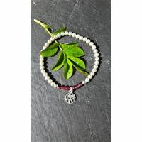 Perlenarmband hellgrau/fuchsia mit Baum des Lebens-Anhänger aus 925 Silber Bild 1