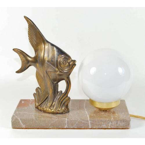30er J. kleine Fisch Tischlampe