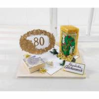 Geldgeschenk 80ter Geburtstag, in gold Tönen mit Kerze, Geburtstagsgeschenk Bild 1