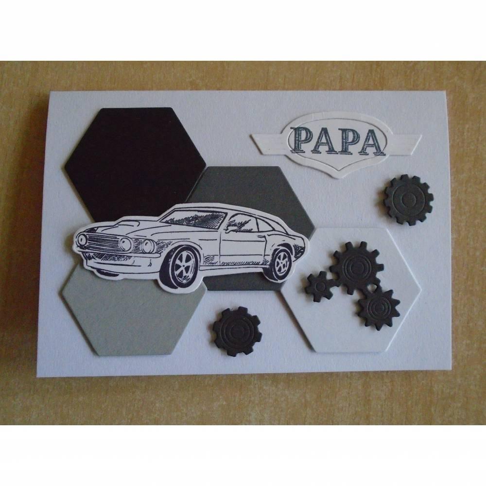 Glückwunschkarte zum Vatertag ,Vatertskarte ,Vater Papa,Papi;,Autokarte,vatertag,Grusskarte,3D Karte,Rennwagenkarte,Autofan,Kfz, Bild 1