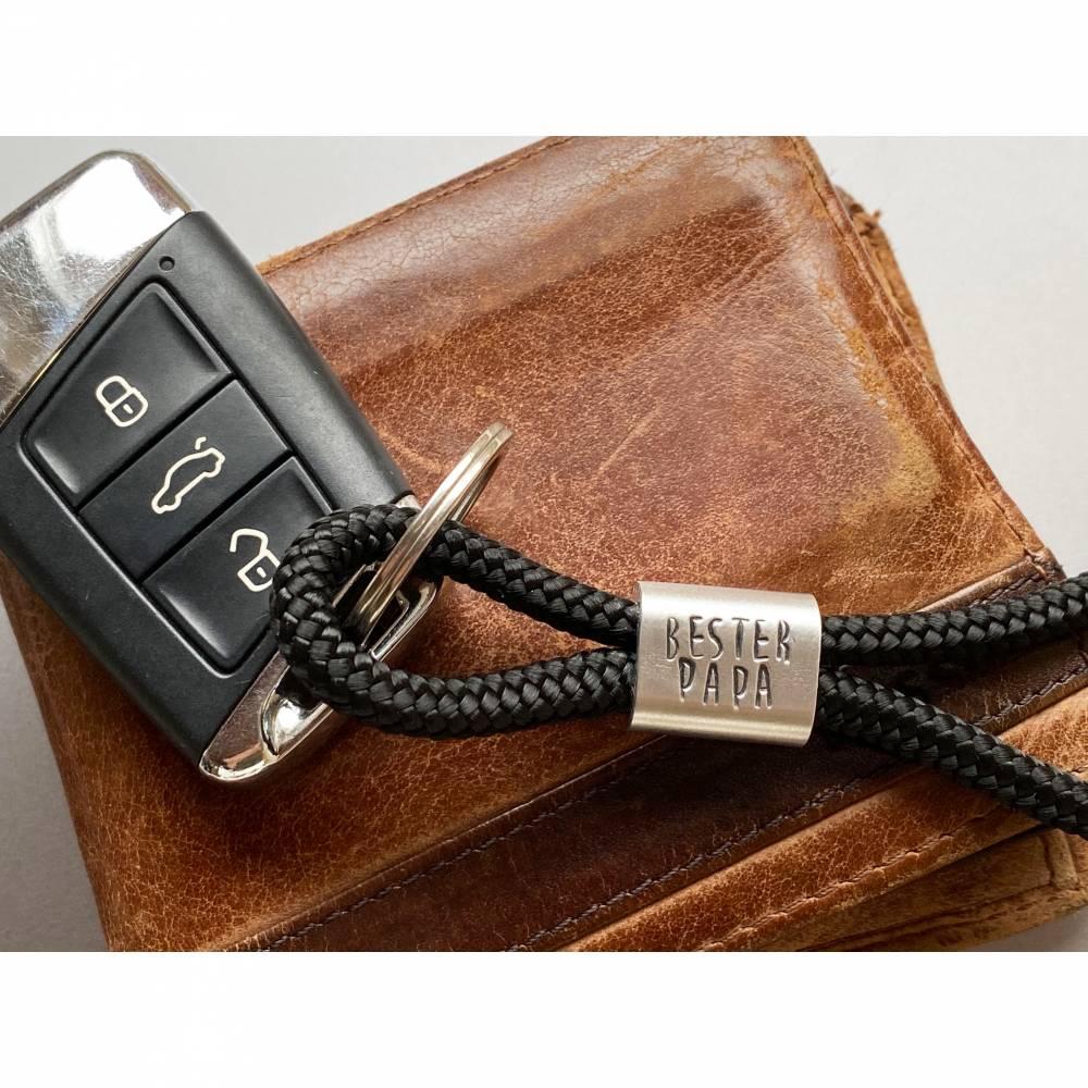 Personalisierter Schlüsselanhänger aus Segeltau handgestempelt | Sylt | Maritim | Meer | Insel Bild 1
