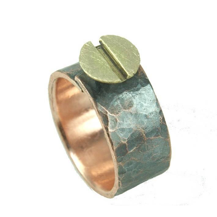 Screw Schraubenring Bandring aus Kupfer und Messing Bild 1
