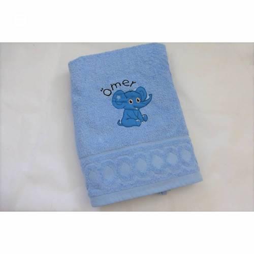 Duschtuch, Elefant, für Jungen und Mädchen, personalisiert inkl. Wunschname, bestickt, Baumwollhandtuch, individuell, von Dieda