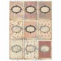 9 Aufkleber / Etiketten ~ Vintage Rahmen~Papier - Aufkkleber ~ A4  Motivbogen ~Shabby Motive / No.115 Bild 1
