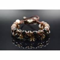 Herren Doppel-Armband aus Edelsteinen Rauchquarz  und Achat mit Knotenverschluss, Makramee Armband, 8 mm Bild 1