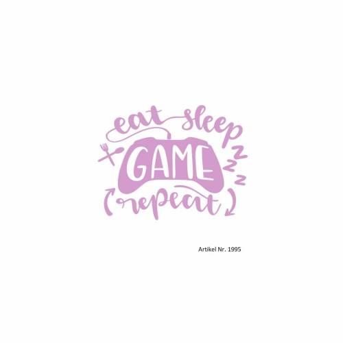 Bügelbild 1995 eat sleep GAME repeat in Wunschfarbe