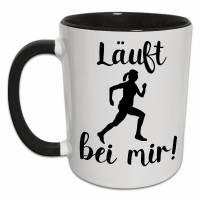 Originelle Geschenke für Läufer | Läuferin Tasse mit Spruch Läuft bei mir | Fitness Marathon Laufen Marathon Joggen Sport Frauen Geschenk Bild 1