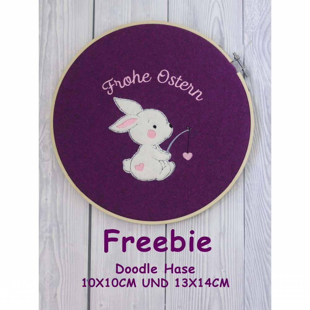 Freebie -Kostenlose Stickdatei Doodle Hase 10x10cm und 13x14cm Bild 1