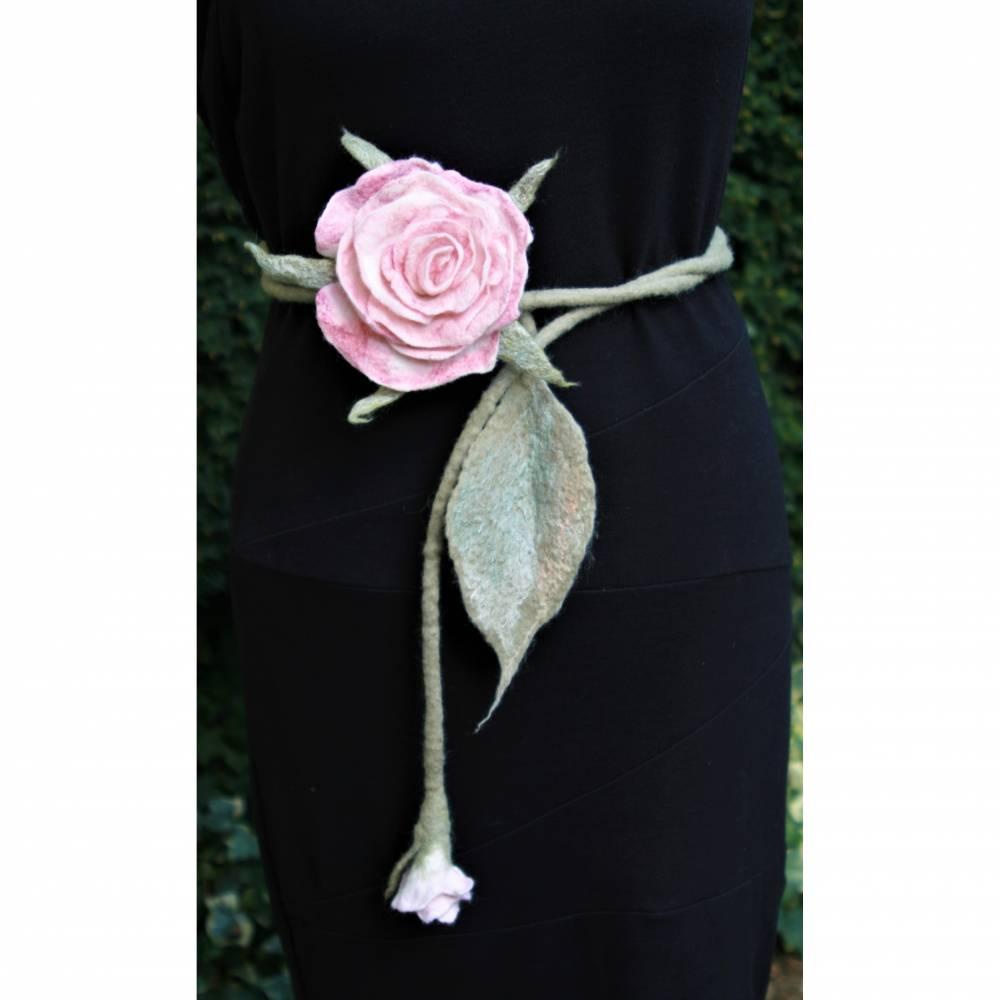Rosen Gürtel handgefilzt aus feinster Wolle und Seide  Bild 1