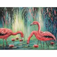 FLAMINGO PARADISE 80cm x 60cm - Wunderschönes Flamingobild mit Seerosen und herabhängenden Blütenzweigen Bild 1