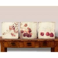 Bild Früchte RED BERRIES Triptychon auf Holz Leinwand Print Wanddeko Landhausstil Vintage Shabby Chic handmade kaufen Bild 1
